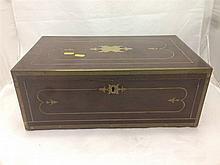 A Regency brass bound mahogany writing slope Of typical hinged form with br