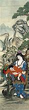 A Chinese watercolour on silk Depicting a lady breast feeding a child, a mo