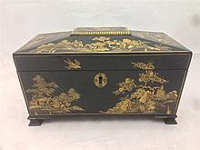 A 19th century chinoiserie lacquered tea caddy The hinged cover enclosing t