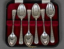 A set of six Edwardian silver teaspoons, hallmarked Sheffield 1902 and 1903