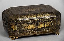 A 19th century Chinese Export chinoiserie lacquered sewing box The hinged l
