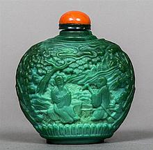 A Chinese cameo glass snuff bottle Decorated in the round with sagely figur