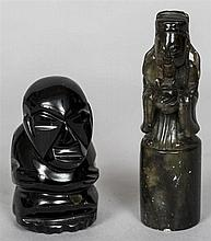 A Chinese carved hardstone seal Formed as an immortal holding a censor, the