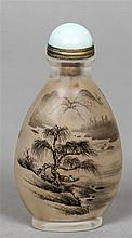 A large Chinese reverse painted glass snuff bottle Decorated with fishermen