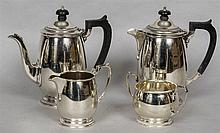 A silver four piece tea service, hallmarked Sheffield 1934 and 1942, maker'