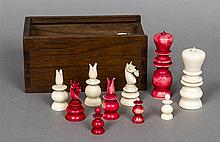 An early 19th century Anglo-Indian mono-block turned ivory and stained ivor