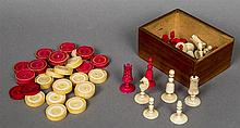 A late 18th century ivory and stained ivory Washington type chess set Toget