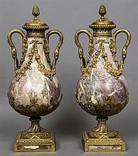 A pair of 19th century Continental ormolu mounted variegated marble twin ha