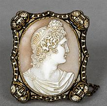 A 19th century unmarked gold and enamel decorated cameo brooch Centrally ca
