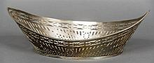 A Dutch silver centre bowl Of navette form with pierced and engraved decora