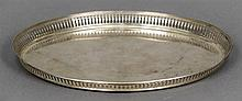 A Dutch silver tray Of oval form with pierced galleried border centrally en