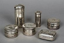 A set of six French silver dressing table containers, each with maker's mar