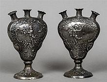 A pair of 19th century Continental silver bud vases, import marks for Londo
