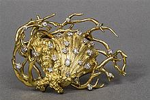 An abstract diamond shell brooch Set with twenty-seven old-cut diamonds, di