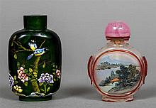 A Chinese enamel decorated green glass snuff bottle Decorated with birds am
