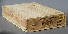 Chateau D'Arsac Cru Bourgeois Margaux, 2012 Six bottles in old wooden case.