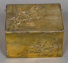 A 19th century gilt metal tobacco box  The hinged cover cast with a steeple