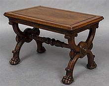 A 19th century mahogany X-framed stool The panelled rectangular top above t
