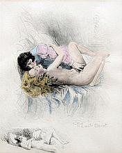 *AR PAUL EMILE BECAT (1885-1960) French Lovers Coloured dry point etching S