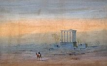 FREDERICK GOODALL (1822-1904) British Camel Before and Egyptian Temple Ruin