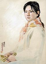 ZHU TONG (20th century) Anglo-Chinese A Girl in Neighbourhood Watercolour S