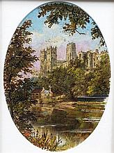 ENGLISH SCHOOL (19th century) Durham Cathedral  Oils on canvas 13.5 x 19 cm