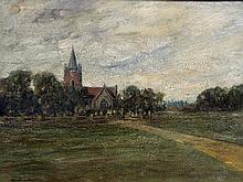 MORTIMER MEMPES (1855-1939)  Thames Valley Church Oil on canvas Signed, ins