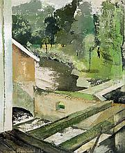 *AR SUSAN HORSFIELD (born 1928) British Garden View From a Window Oil on ca