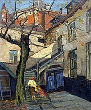 CONTINENTAL SCHOOL (19th/20th century) Figures in a Shaded Courtyard Oil on