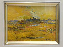FAY HAGGI (20th century) British Landscape at Sunset Gouache Signed 11 x 8.