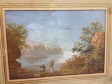 CONTINENTAL SCHOOL (18th/19th century) Hunters Beside a Lake in an Italiana
