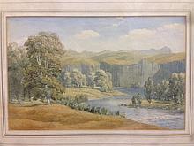 A W MOORE (19th/20th century) British Mountainous River Landscape Watercolo