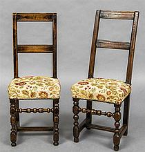 A matched pair of 18th century Continental fruitwood back stools Each with