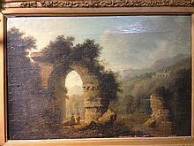 CONTINENTAL SCHOOL (18th century) Figures by a Ruin in a Romantic Italiante