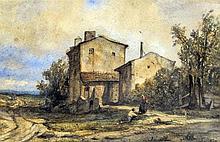 PIERRE THUILLIER (1799-1858) French Maison de Campagne en Auverge Watercolo