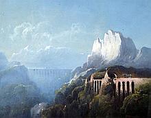 CONRAD SCHREIBER (1816-1894) German Mountainous Landscape With Steam Trains