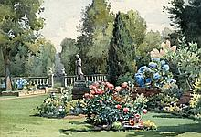CYRIL FROST (20th century) British Garden Scene Watercolour Signed and date