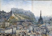 F S FULLAGAR (20th century) British View of Edinburgh Castle Watercolour Si