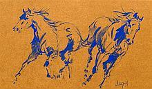 *AR HUBERT DE WATRIGANT (born 1954) French Horse Studies Watercolour Signed