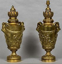 A pair of 19th century gilt bronze table lamps Each formed as an antiquity