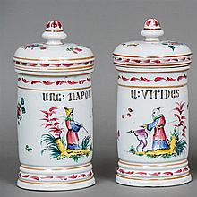 Two porcelain drug jars, possibly Strasbourg Decorated in the chinoiserie m