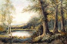 *AR FRANCIS E JAMIESON (1895-1950) British Woodland Lake Scene Oil on canva