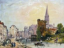 ISAAC HENZELL (1815-1876) British Continental Townscape Oil on board Signed
