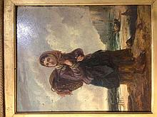 G J BARNES (19th century) British The Fisherman's Daughter Oil on board Sig