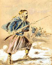 DUPENDANT (19th century) Continental Near Eastern Soldier  Watercolour and