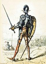 ERNEST HENRI GRISET (1844-1907) French Don Quixote Watercolour heightened w