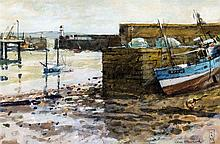 *AR KEN HOWARD (born 1932) British Low Tide Newlyn Watercolour Signed and d