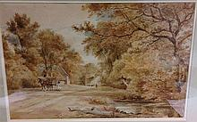 HENRY EDRIDGE (1769-1821) British Horse and Cart on a Rural Lane Watercolou