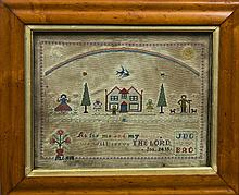 A Victorian maple framed needlework sampler  Worked with a family in a garden beneath a rainbow above a religious verse and panel of two sets of initials either side of two hearts, initialled MC 1886.  47.5 cm wide overall.