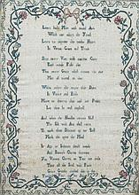 An 18th century needlework sampler by Grace Grundy in the 12th Year of Her Age 1777 Worked with a verse within flowering scroll border, framed and glazed.  33 x 45.5 cm.